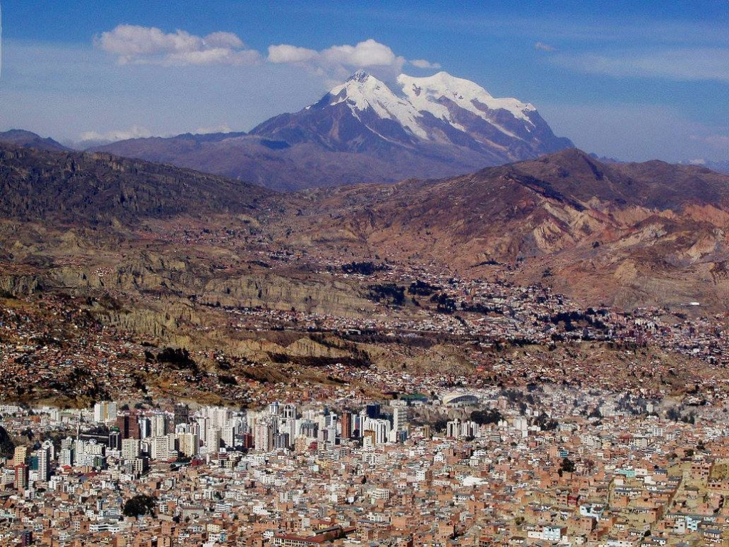 Este é o Illimani aqui do hotel, é o guardião de La Paz com 6438m e que vamos escalar no final do curso em Agosto
