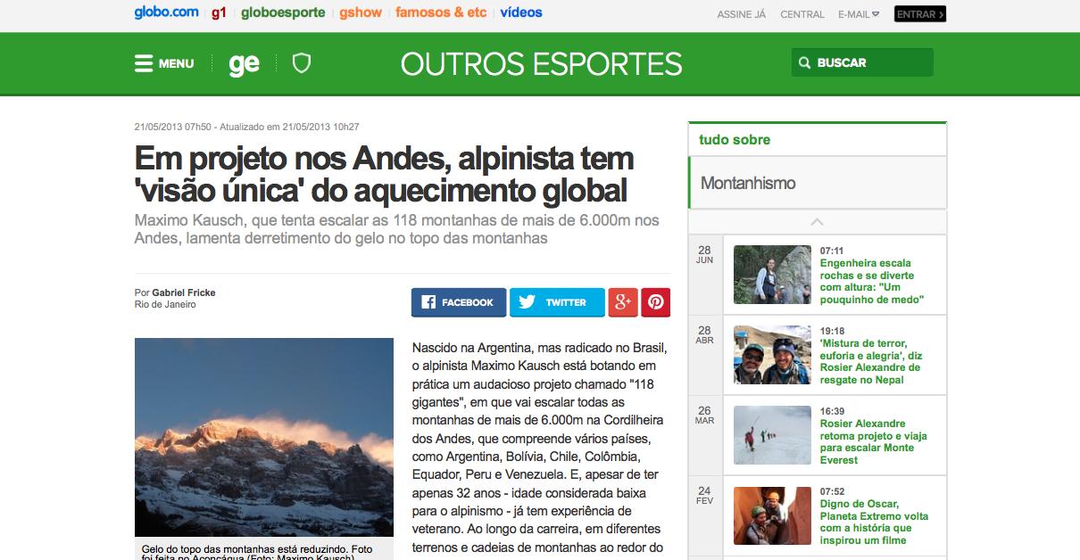 Em projeto nos Andes, alpinista tem 'visão única' do aquecimento global _ globoesporte.com (20150812)