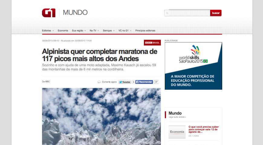 G1 - Alpinista quer completar maratona de 117 picos mais altos dos Andes - notícias em Mundo (20150812)