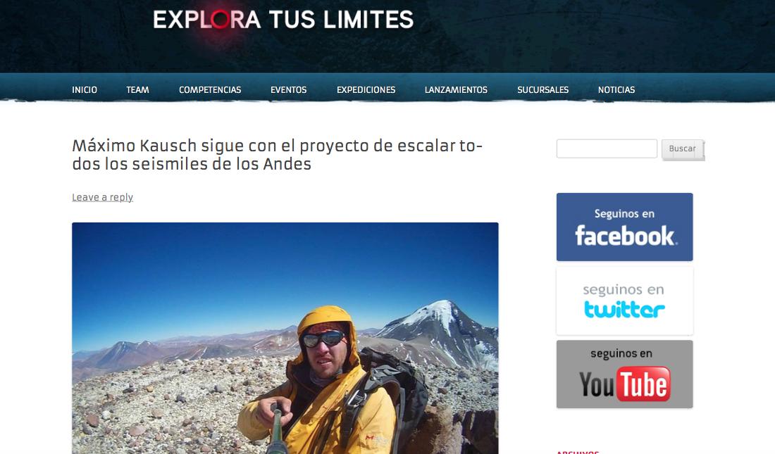 Máximo Kausch sigue con el proyecto de escalar todos los seismiles de los Andes _ Explora tus limites (20150812)