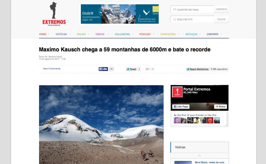 Maximo Kausch chega a 59 montanhas de 6000m e bate o recorde (20150812)