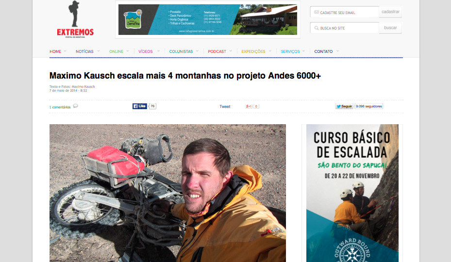 Maximo Kausch escala mais 4 montanhas no projeto Andes 6000+ (20150812)