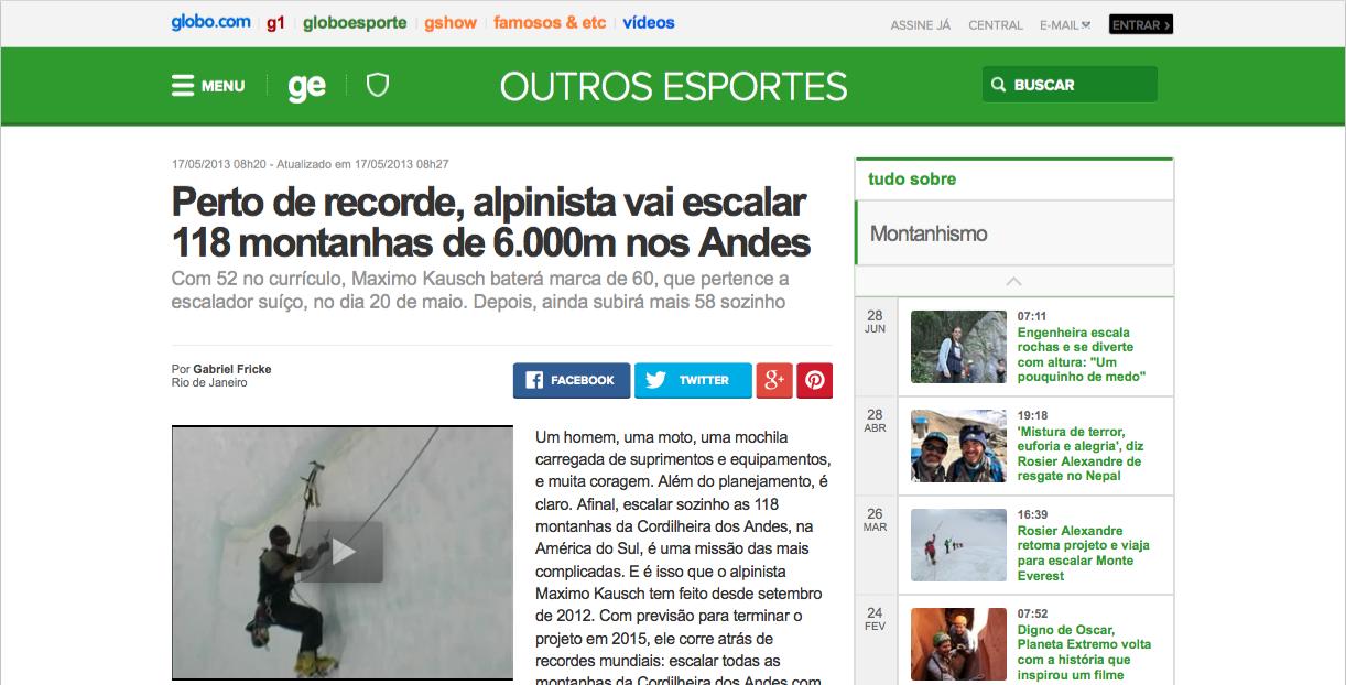 Perto de recorde, alpinista vai escalar 118 montanhas de 6.000m nos Andes _ globoesporte.com (20150812)