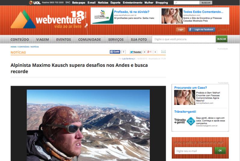 Alpinista Maximo Kausch supera desafios nos Andes e busca recorde - Webventure - A vida ao ar livre (20150812)