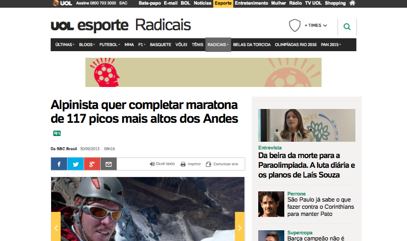 Alpinista quer completar maratona de 117 picos mais altos dos Andes - Notícias - UOL Esporte (20150812)