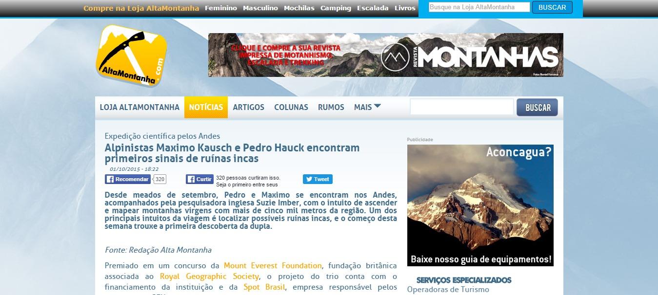 Alpinistas Maximo Kausch e Pedro Hauck encontram primeiros sinais de ruínas incas