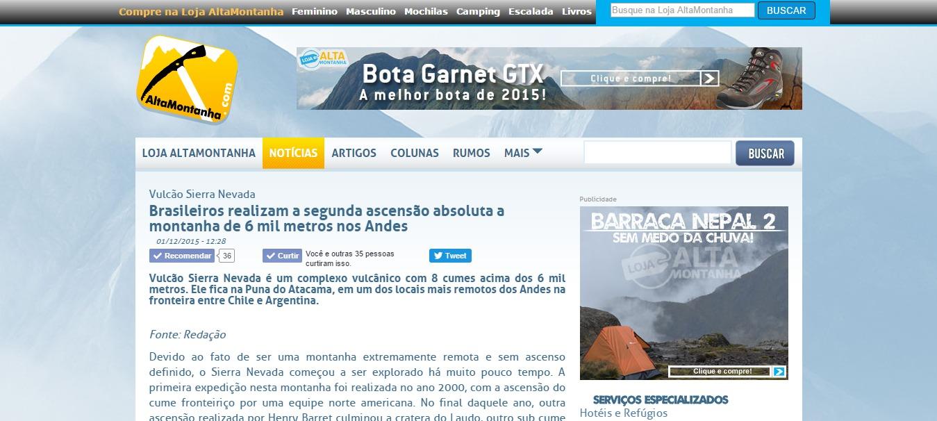 Brasileiros realizam a segunda ascensão absoluta a montanha de 6 mil metros nos Andes