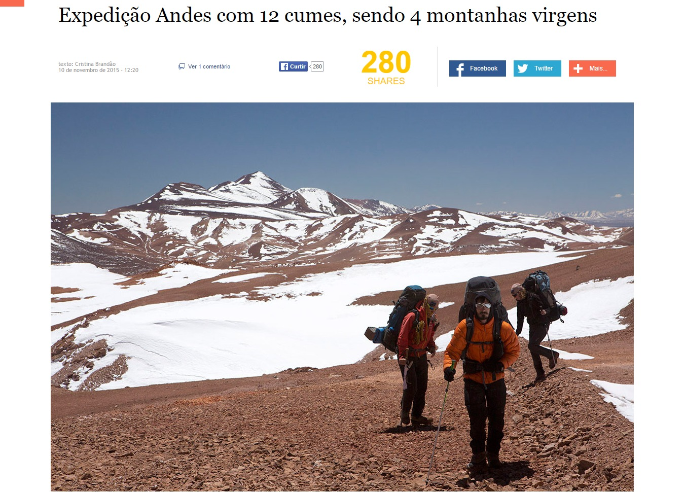 Expedição Andes completa a marca de 12 cumes sendo 4 montanhas virgens