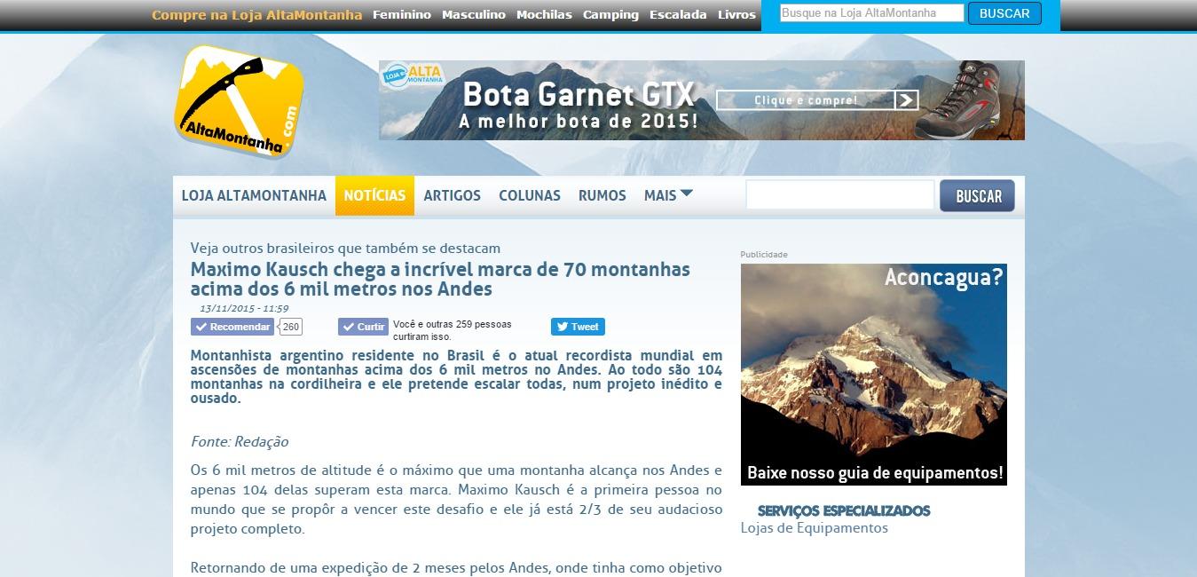 Maximo Kausch chega a incrível marca de 70 montanhas acima dos 6 mil metros nos Andes