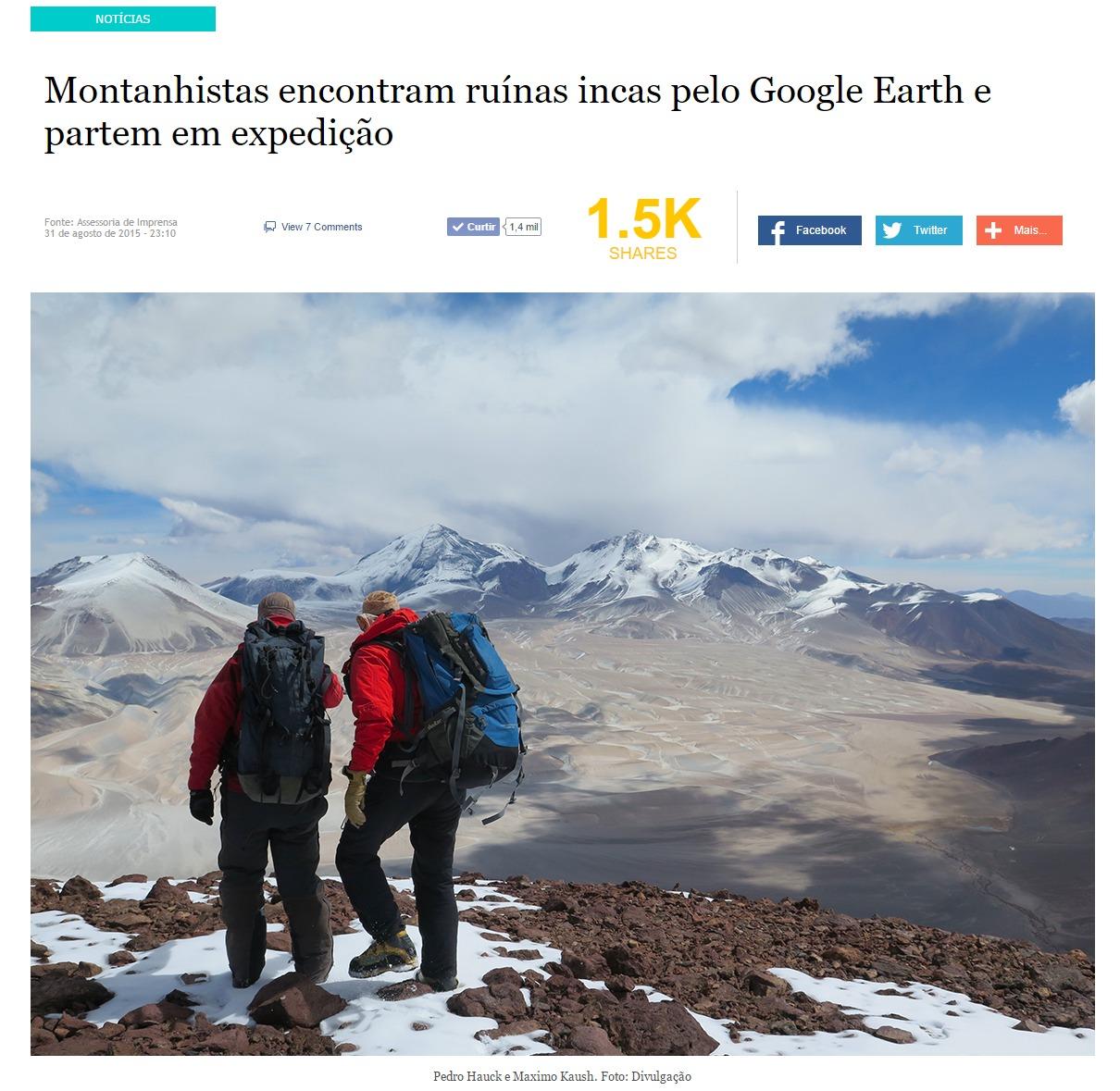 Montanhistas encontram ruínas incas pelo Google Earth e partem em expedição