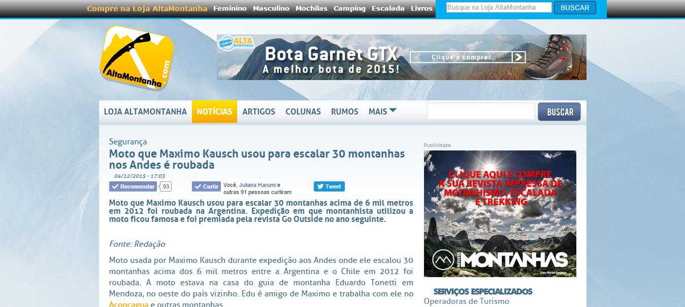 Moto que Maximo Kausch usou para escalar 30 montanhas nos Andes é roubada