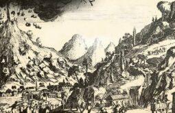 Antigua em pintura que relata explosões vulcanicas