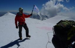 Pedro Hauck no cume do Illimani, Bolívia