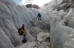 Antonio Amaral e Fabio brito treinando transito glaciário
