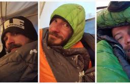 Pedro, Jovani e Maximo acordando a 31 graus abaixo de zero, manhã de ataque ao cume do Monte Parofes - Foto de Maximo Kausch