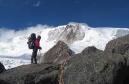 Primeira vista do glaciar do Chachacomani
